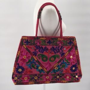 Handbags - Embroidery Pattern Large Shoulder Bag